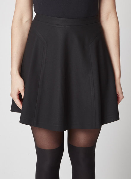 Helmut Lang BLACK A-LINE WOOL SKIRT