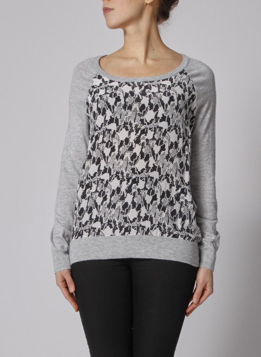 Joie Grey Silk-Printed Sweater