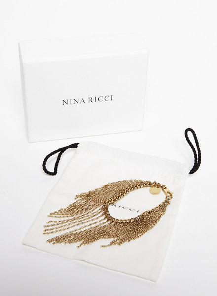 Nina Ricci BRACELET EN MÉTAL DORÉ À FRANGES - NEUF