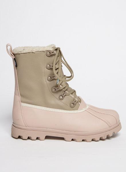 Native Shoes BOTTES D'HIVER ROSES ET KAKI EN CAOUTCHOUC