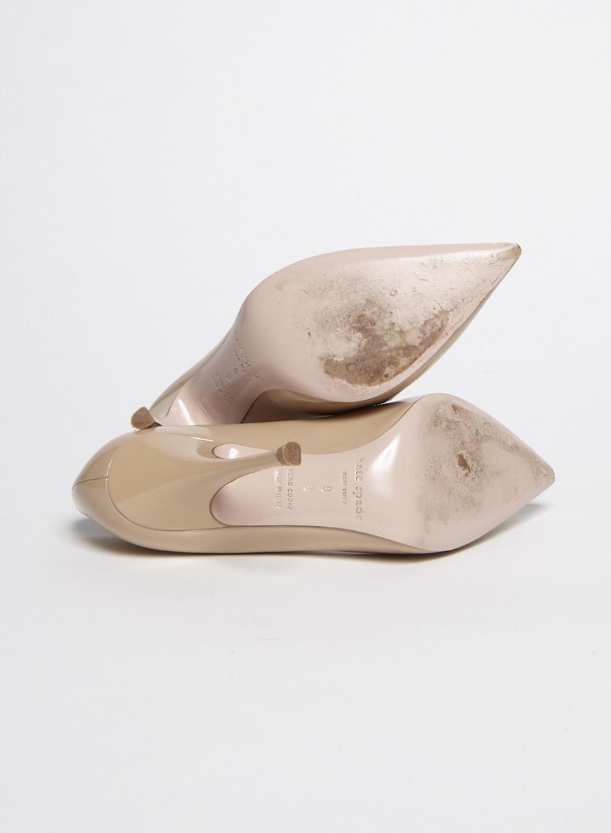 Kate Spade Beige Heart-Embellished Patent Leather Pumps