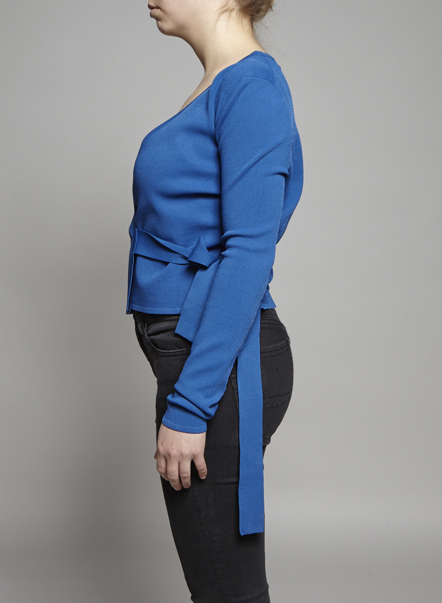 Diane von Furstenberg Blue Wrap Top