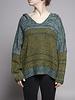 Elan Pull à capuche en tricot vert et jaune - Neuf avec étiquette