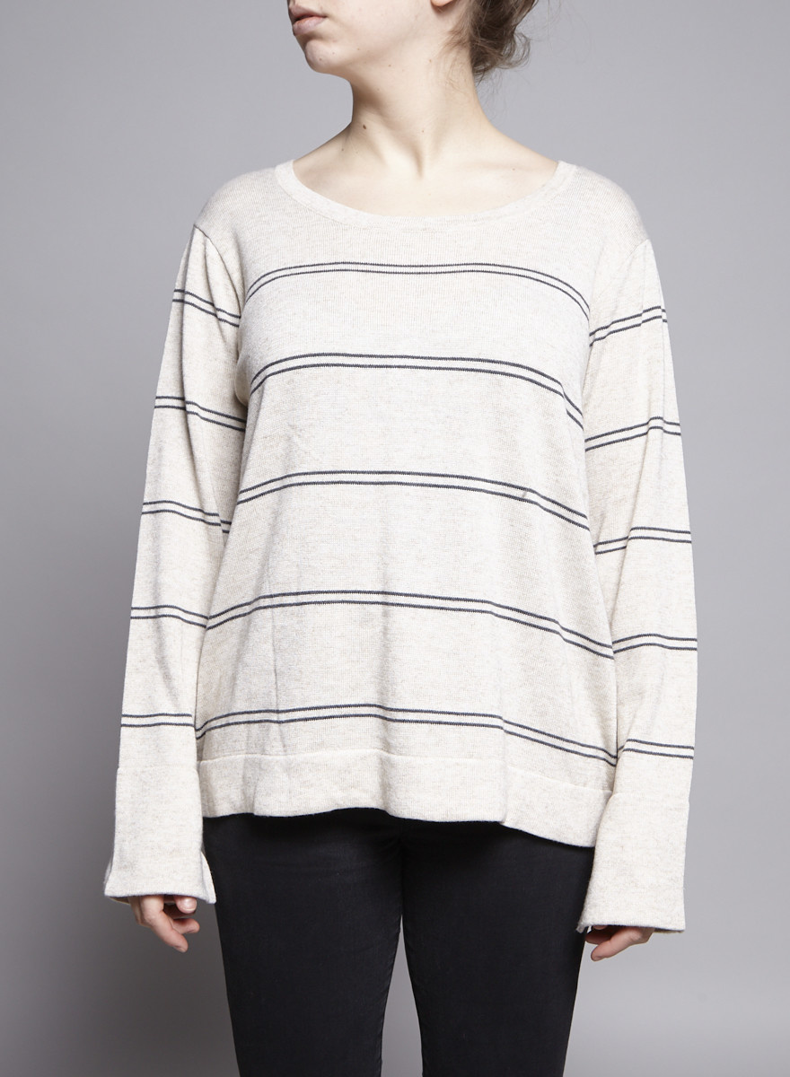 Heartloom Beige and Grey Striped Open-Back Sweater - New