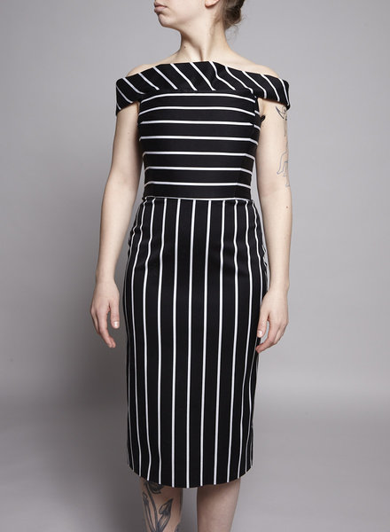 Christian Siriano BLACK AND WHITE STRIPED OFF-THE-SHOULDER DRESS
