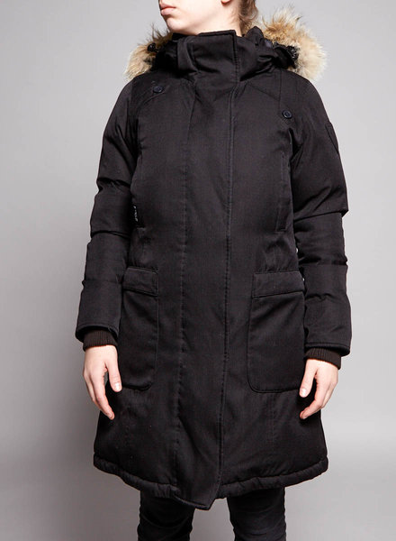 Nobis BLACK COAT WITH FUR HOOD