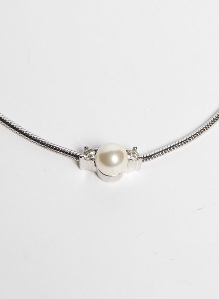 Christian Dior CRYSTAL AND PEARL-EMBELLISHED SILVER NECKLACE
