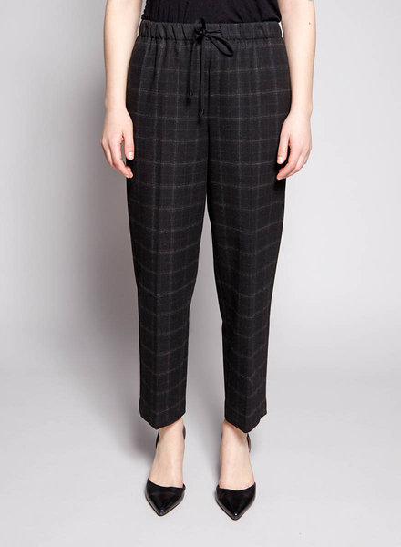 The Group by Babaton BLACK ELASTIC WAIST CHECK PANTS
