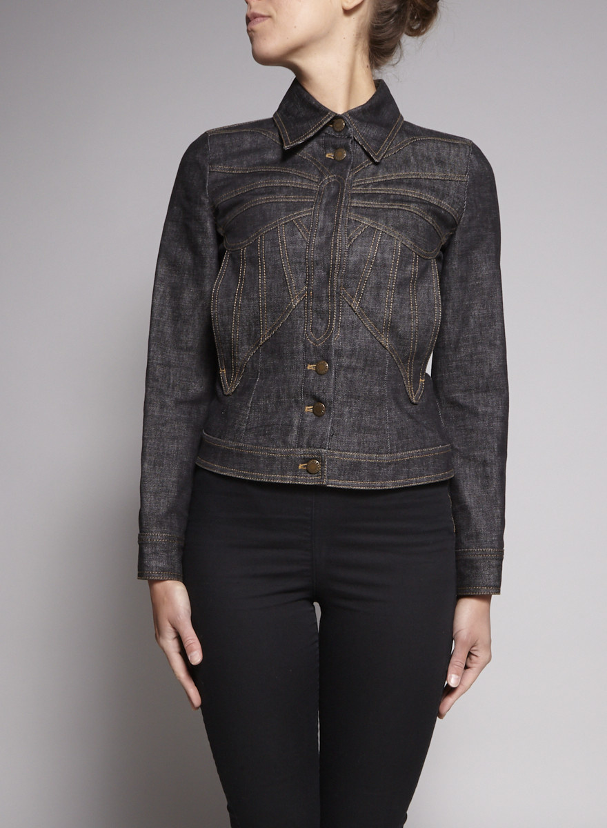 Dolce & Gabbana Jean Jacket with Butterfly Embroidery