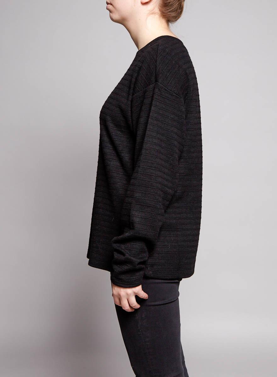 Sam & Lavi Pull noir à rayures texturées - Échantillon