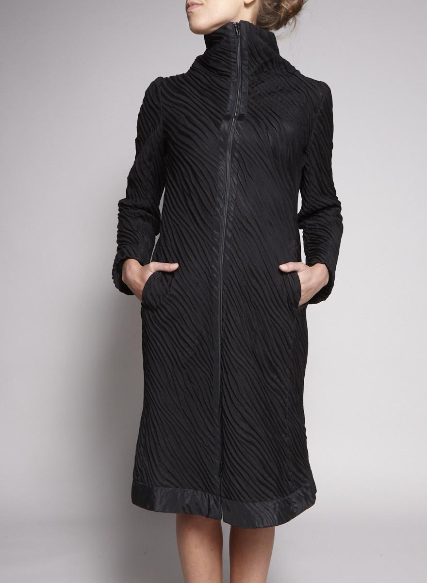 Marie Saint Pierre Black Textures Coat-Dress
