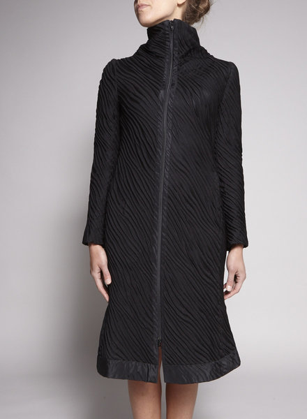 Marie Saint Pierre BLACK TEXTURED COAT-DRESS