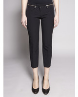 Versace Collection BLACK ZIP-EMBELLISHED 7/8 PANTS