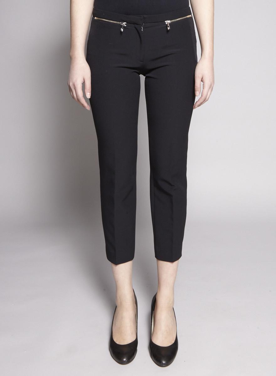 Versace Collection Pantalon noir 7/8 à fermetures Éclair