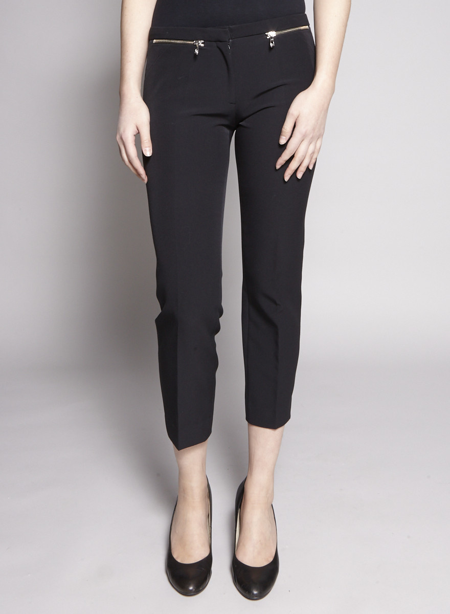 Versace Collection Black Zip-Embellished 7/8 Pants