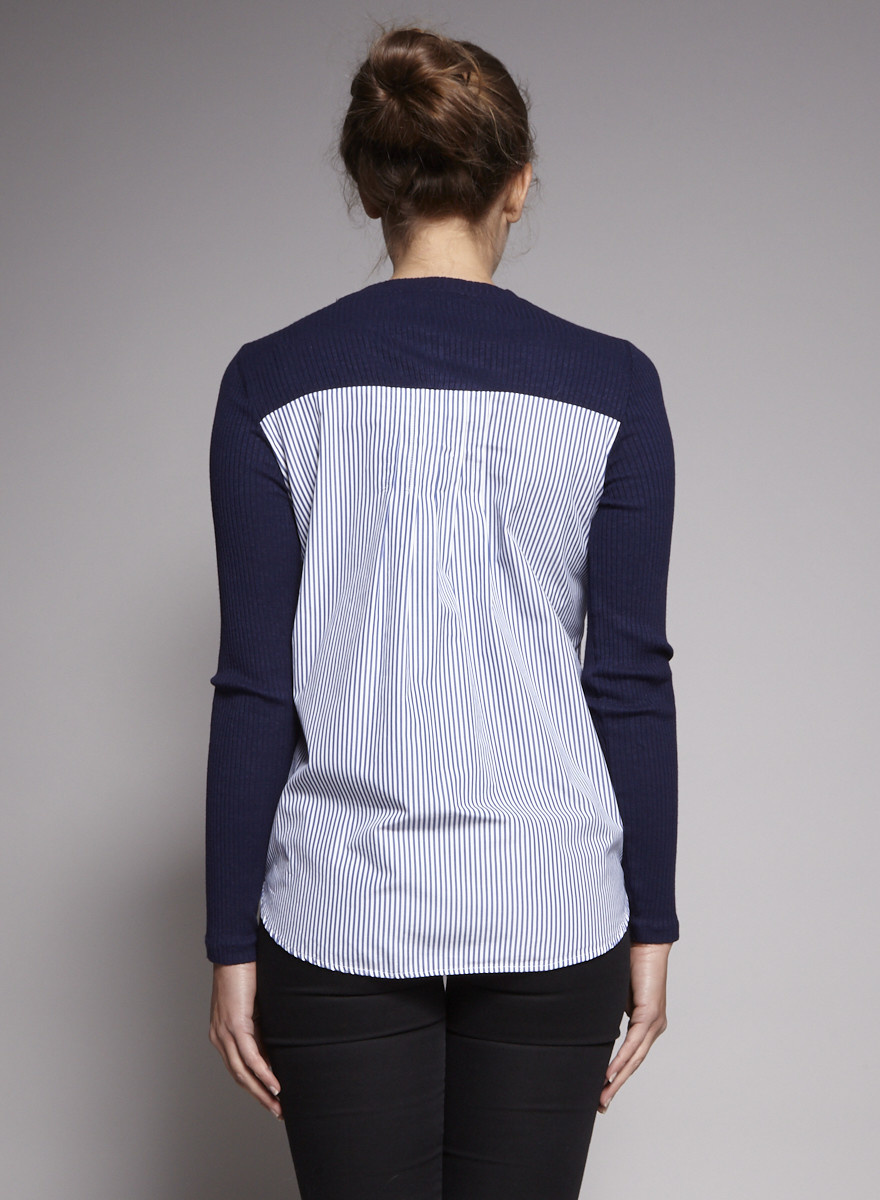 Sandro Dark Blue Sweater with Poplin Back