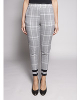 SEN BLACK AND WHITE CHECKED JOGGING PANTS