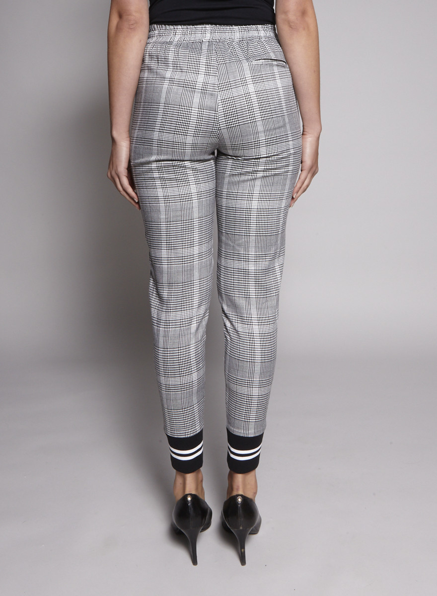 SEN Black and White Checked Jogging Pants