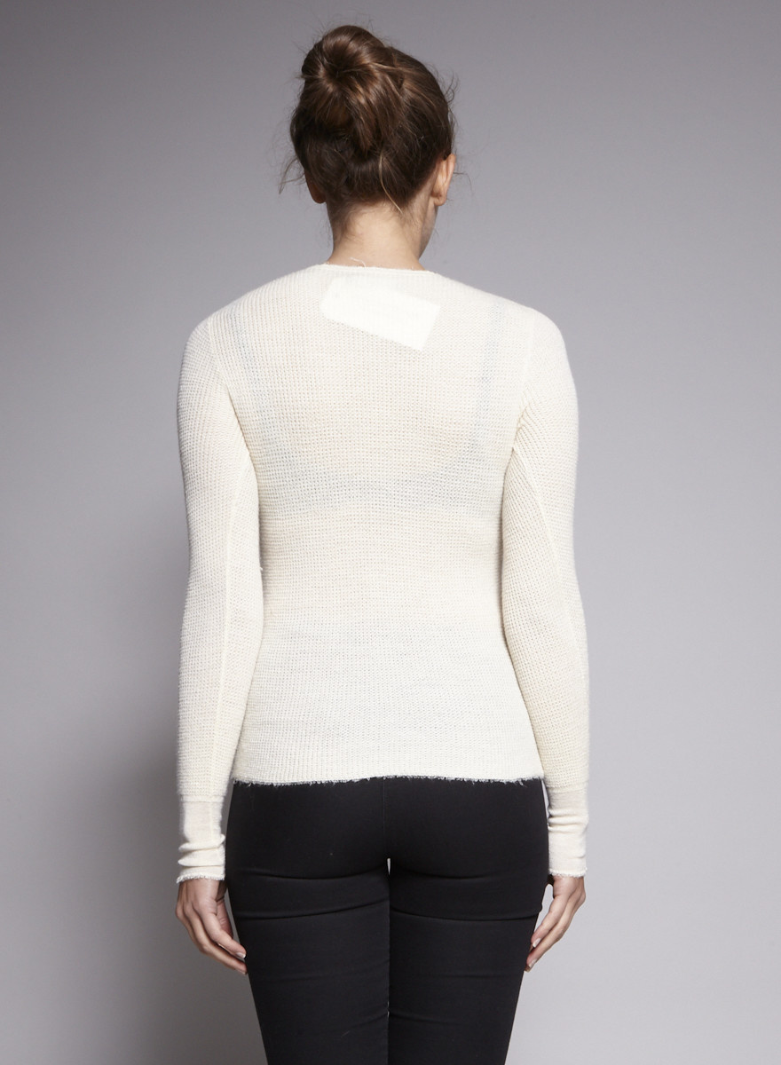 Vince Off White Sweater Embossed Mesh