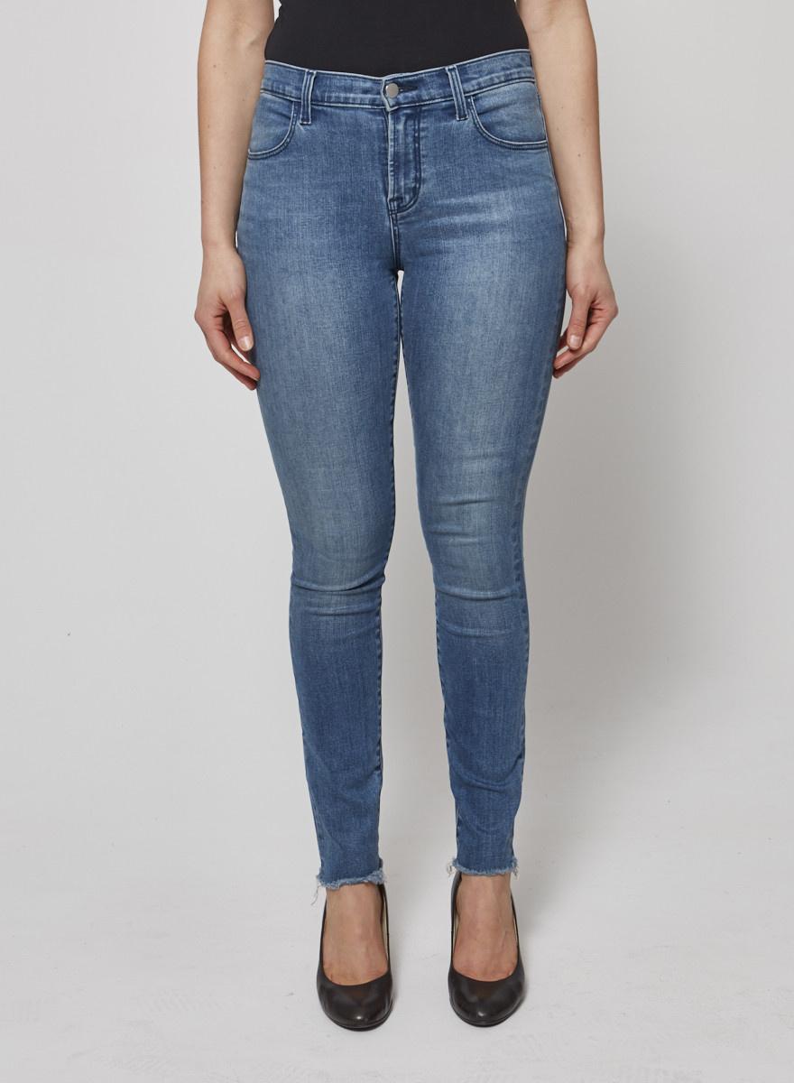 J Brand Jean skinny bleu à bords effilochés