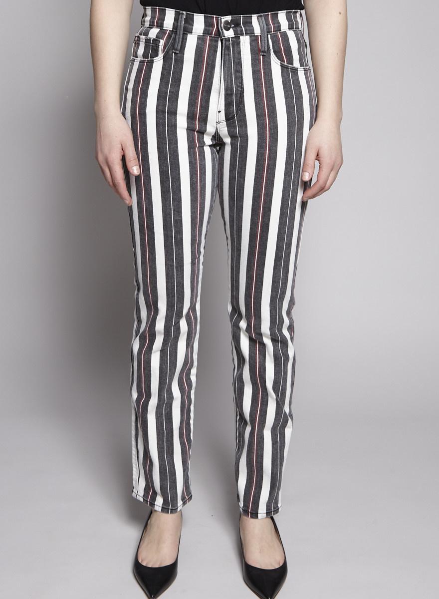 Frame Striped Straight-Leg Jeans