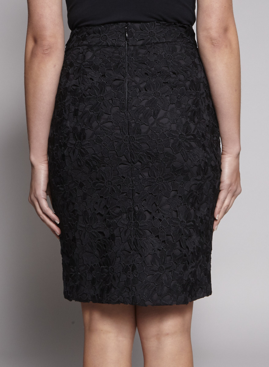 Kate Spade Black Lace Skirt with Embroidered Flowers