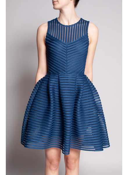 Maje BLUE TEXTURED MESH DRESS