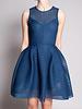 Maje Blue Textured Mesh Dress