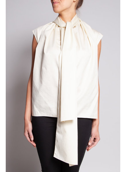 COS PALE YELLOW TOP WITH SCARF COLLAR