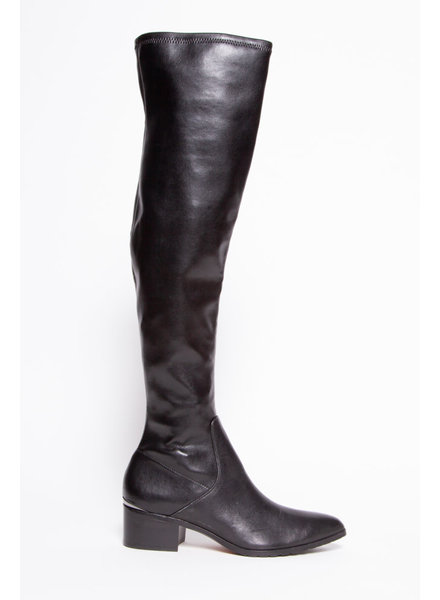Donald J. Pliner BLACK LEATHER OVER-THE-KNEE BOOTS