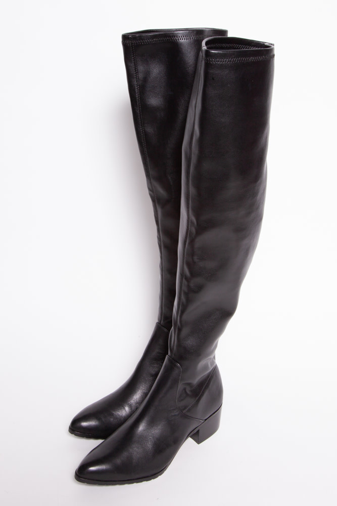 Donald J. Pliner Black Leather Over-the-Knee Boots