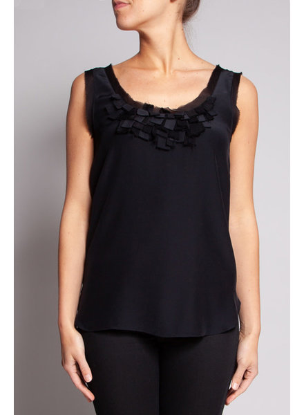 SALE (WAS $130) - BLACK SILK TOP WITH DETAILED COLLAR