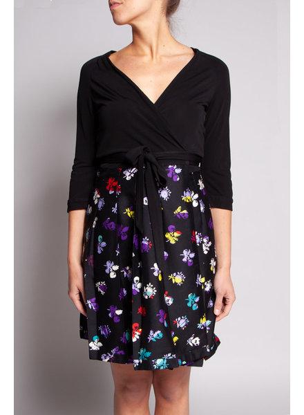 Diane von Furstenberg BLACK WRAP DRESS WITH FLOWER PATTERNS