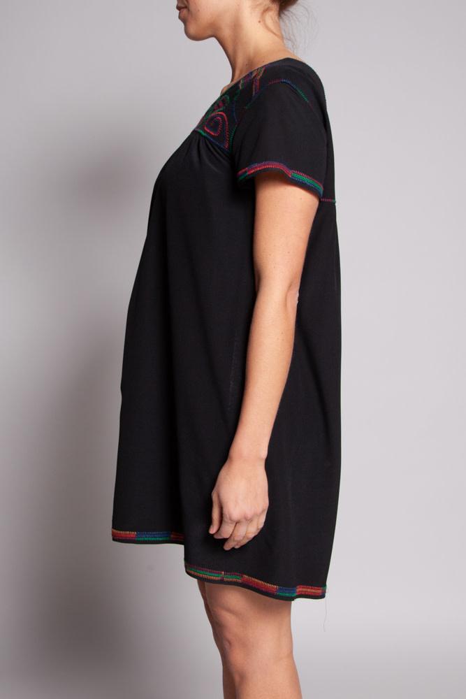 Madewell Black Embroidered Silk Dress