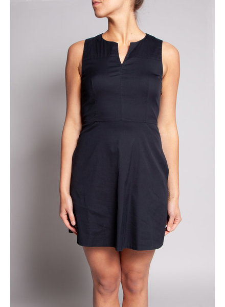 Theory BLACK V-NECK POPLIN DRESS