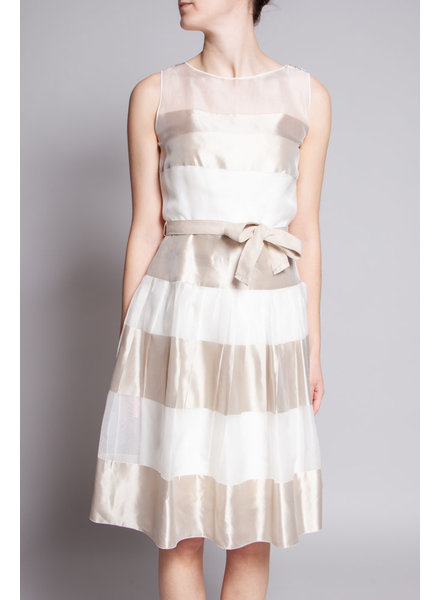 Akris OFF WHITE BI-MATERIAL TULLE DRESS