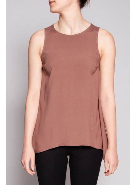 Brunello Cucinelli BROWN SILK TOP