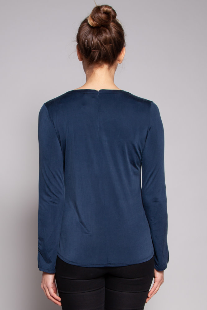 Ecru Blue Open-Neck Blouse
