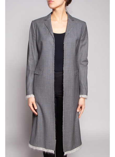 Gold Pfeil GREY WOOL JACKET WITH FRAYED EDGE