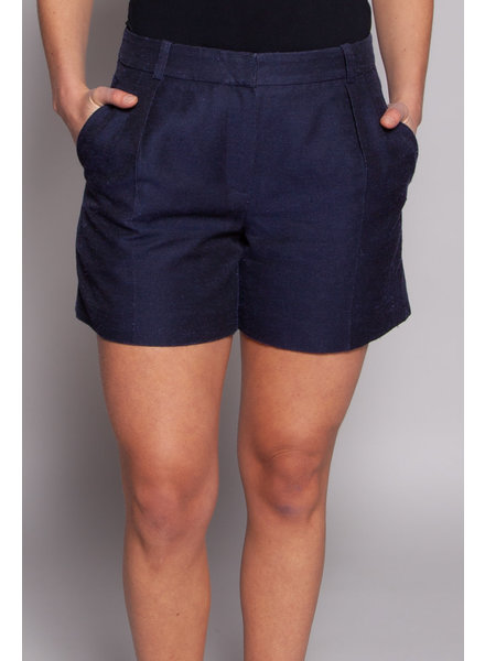 Carven NAVY SHORTS MADE OF RAW SILK