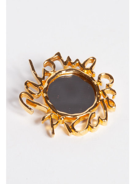 Paloma Picasso SMALL GOLD-TONE METAL AND MIRROR BROOCH