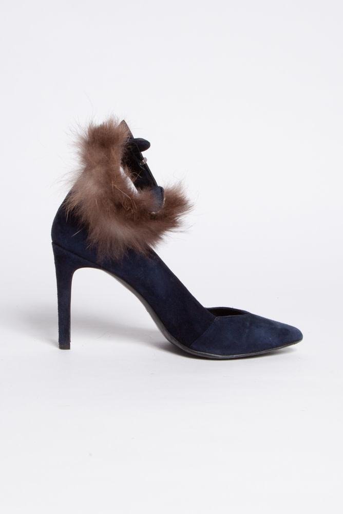 Maje Blue Suede Heels With Retractable Fur