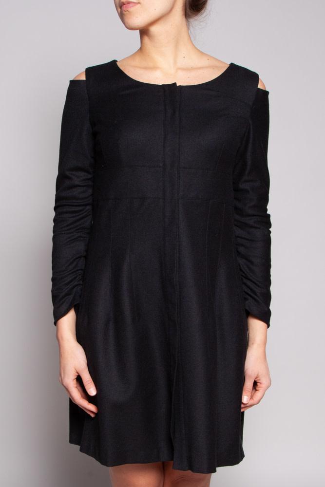 Philippe Dubuc Black Cold-Shoulder Wool Dress