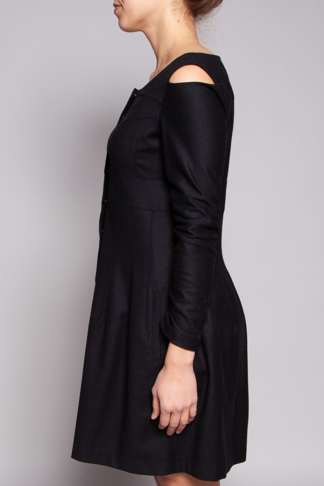 Philippe Dubuc NEW PRICE (WAS $110) - BLACK COLD-SHOULDER WOOL DRESS