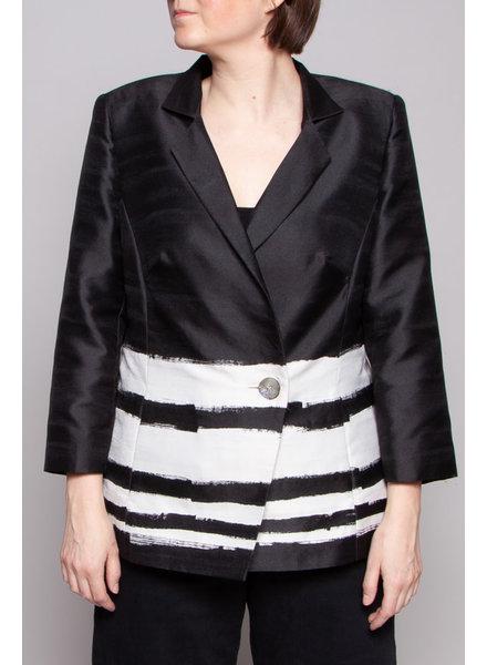 Marina Rinaldi SALE (WAS $180) - BLACK JACKET WITH LARGE WHITE STRIPES