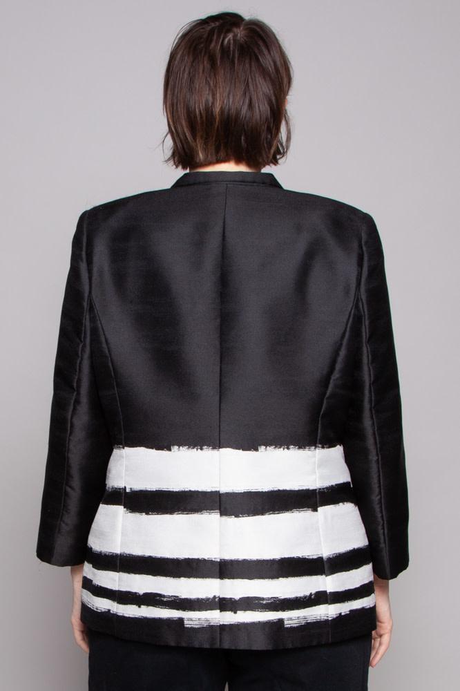 Marina Rinaldi Black Jacket with Large White Stripes