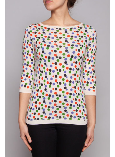 Eric Bompard POLKA DOT CASHMERE & SILK  SWEATER