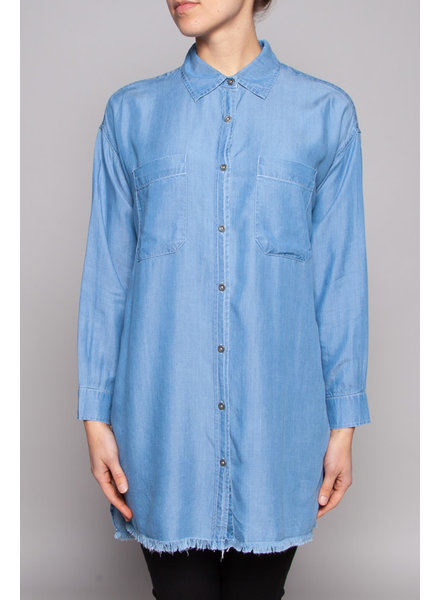 Elan DENIM SHIRT DRESS WITH FRINGES - SAMPLE