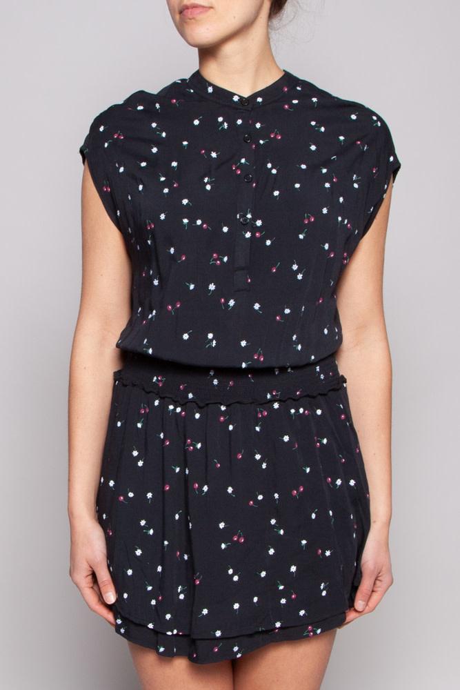 Rails Black and Printed Elastic-Waist Dress - Sample