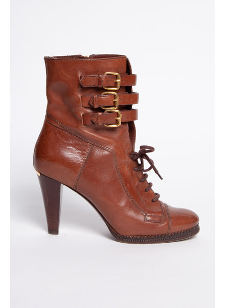 Burberry BROWN LEATHER BOOTS WITH LACES